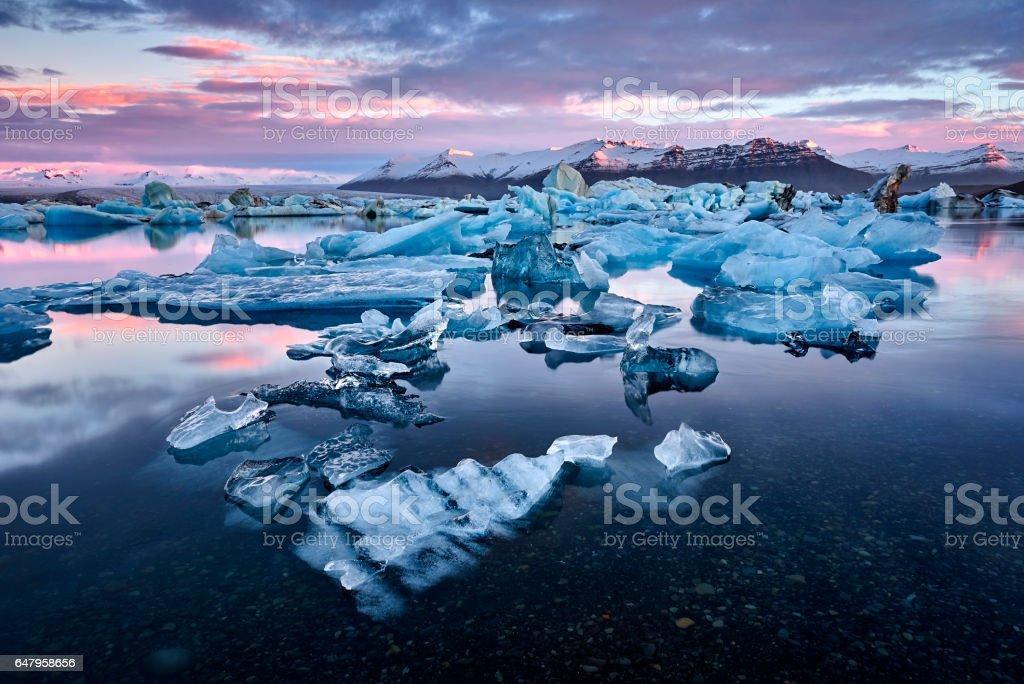 Iceland, Jokulsarlon lagoon, Beautiful cold landscape picture of icelandic glacier lagoon bay stock photo