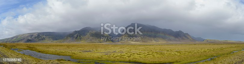 istock Iceland landscape with grass and moss covered rocks and waterfall 1270055740