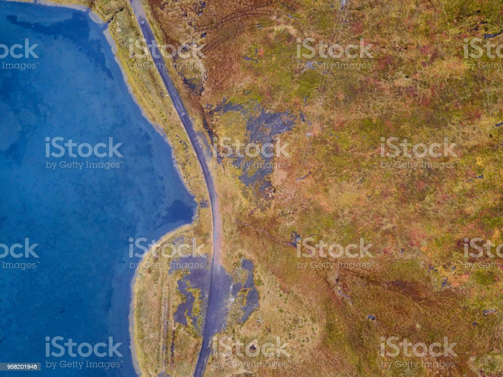 Iceland landscape with regional road. Icelandic aerial photography captured by drone. stock photo