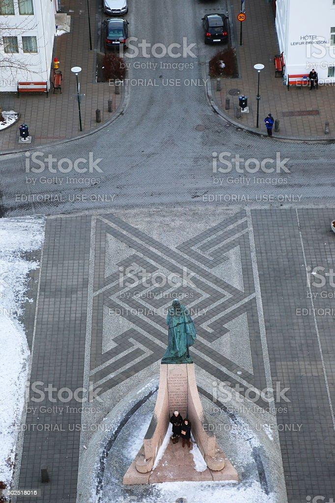 Iceland: Leif Ericson Statue in Reykjavik stock photo