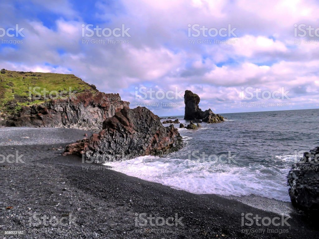 Iceland Londrangar the rock formations 2017 stock photo