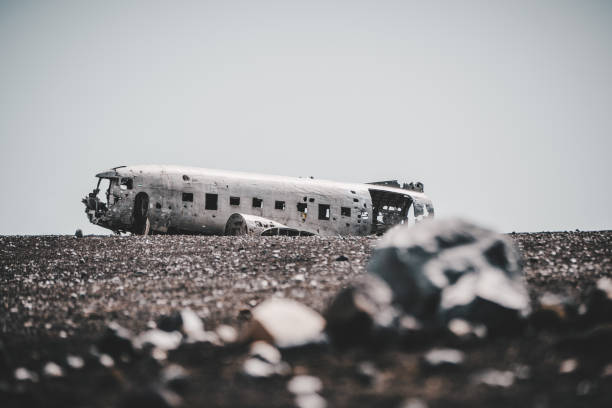 Iceland Lonely DC-3 Plane Wreckage Aviation Landscape Iceland Lonely DC-3 Plane Wreckage Aviation Landscape sólheimasandur stock pictures, royalty-free photos & images