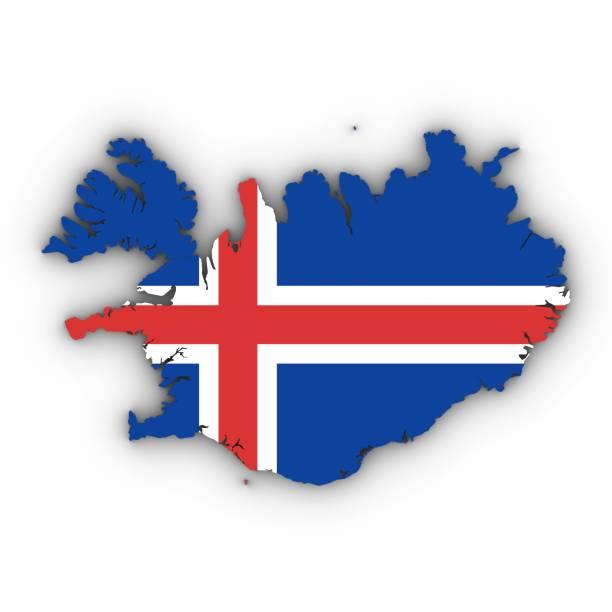 Esboço de mapa de Islândia com bandeira da Islândia em branco, com sombras 3D ilustração - foto de acervo