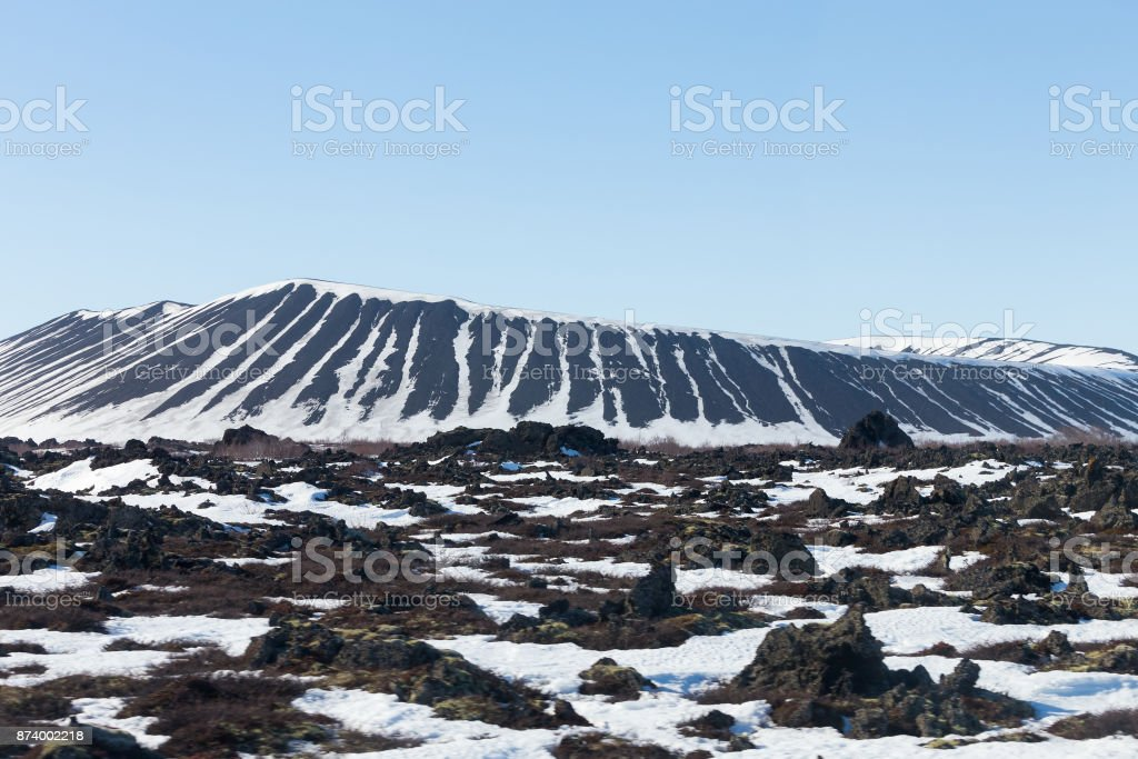 Iceland Myvatn volcano with clear blue sky stock photo
