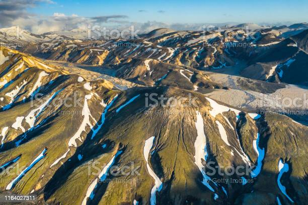 Iceland nature reserve landmannalaugar highlands. Picture made by drone from above.
