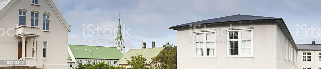 Iceland Reykjavík city homes urban rooftops church spire panorama royalty-free stock photo