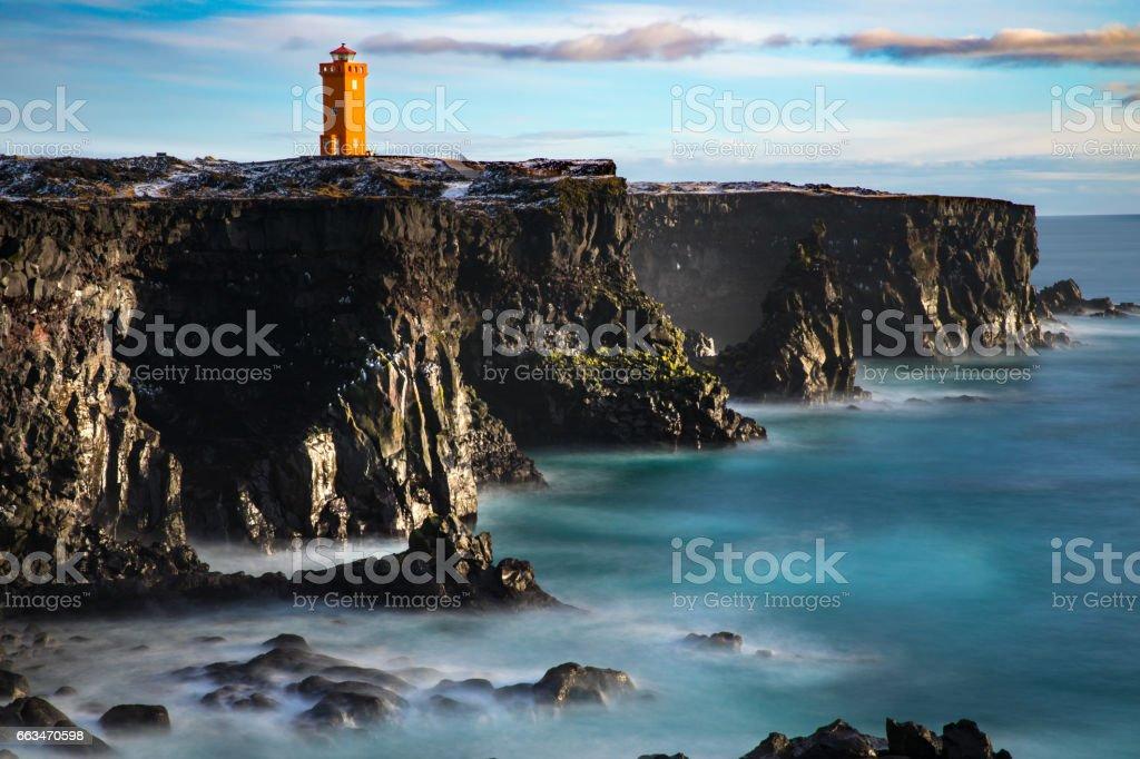 Iceland - Saxholsbjarg Orange Lighthouse In Snaefellsnes stock photo