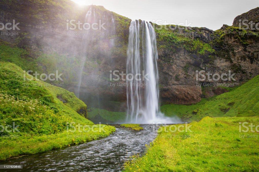 Iceland Seljalandsfoss Waterfall stock photo