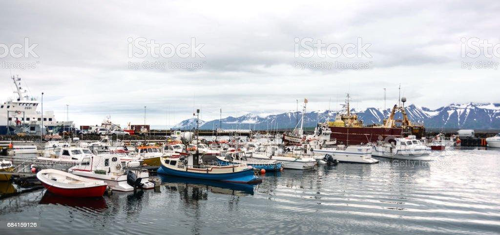 Iceland ships in a harbour zbiór zdjęć royalty-free