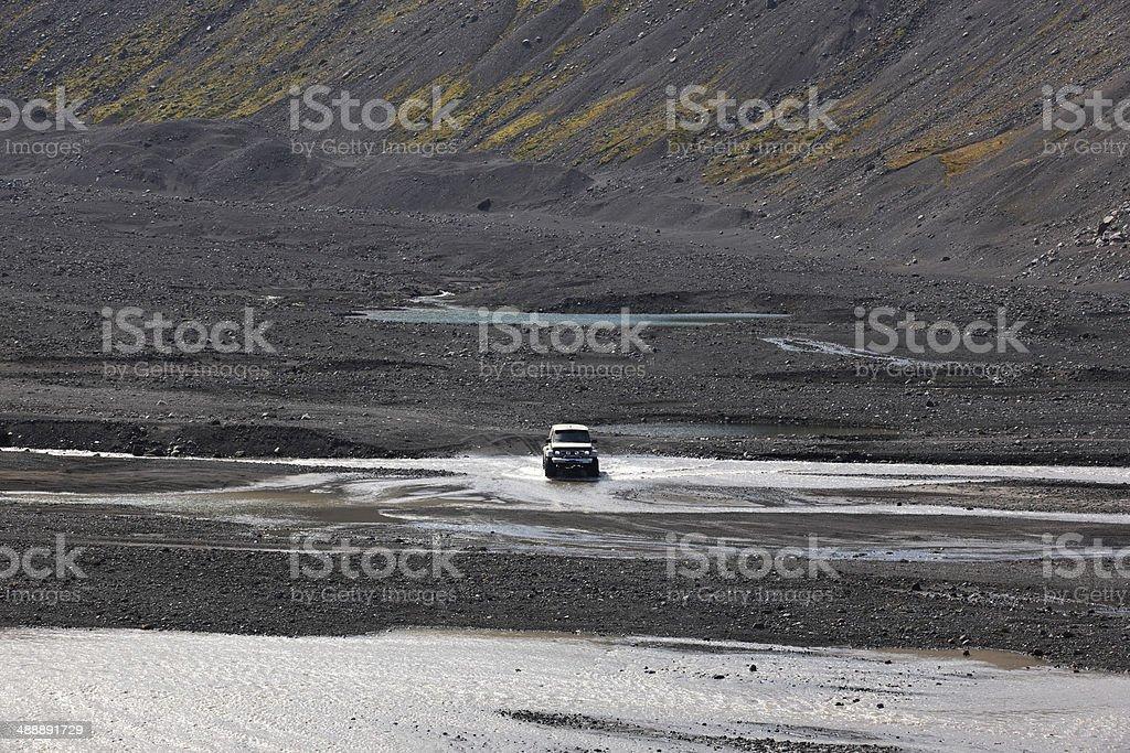 Iceland. South area. Eyjafjalajokul volcanic sand, river and 4wd stock photo