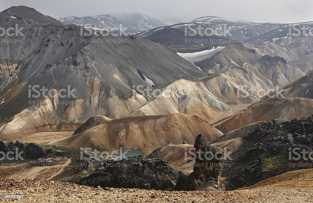 Iceland. South area. Fjallabak. Volcanic landscape with rhyolite formations. royalty-free stock photo