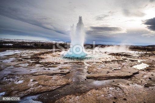 Strokkur Geyser Iceland erupting in Iceland.