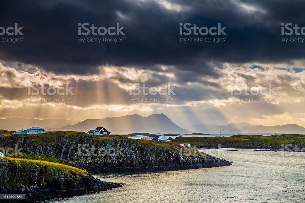Iceland - Sun rays over coastline stock photo