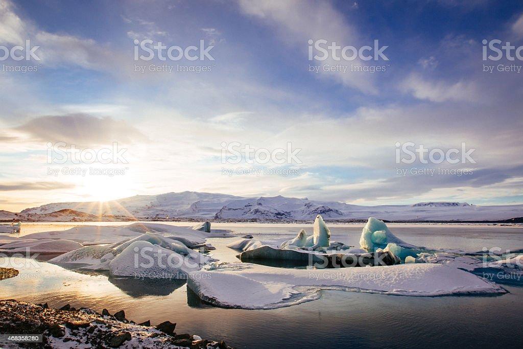 Iceland, sunset over Jokulsarlon Glacier Lagoon royalty-free stock photo