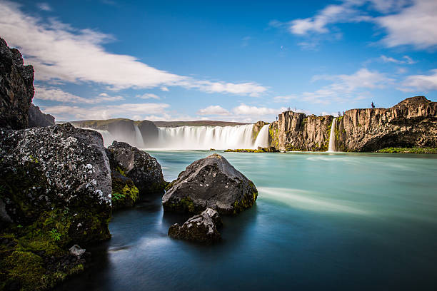 Iceland, the amazing beauty of Godafoss, the God's Waterfall stock photo