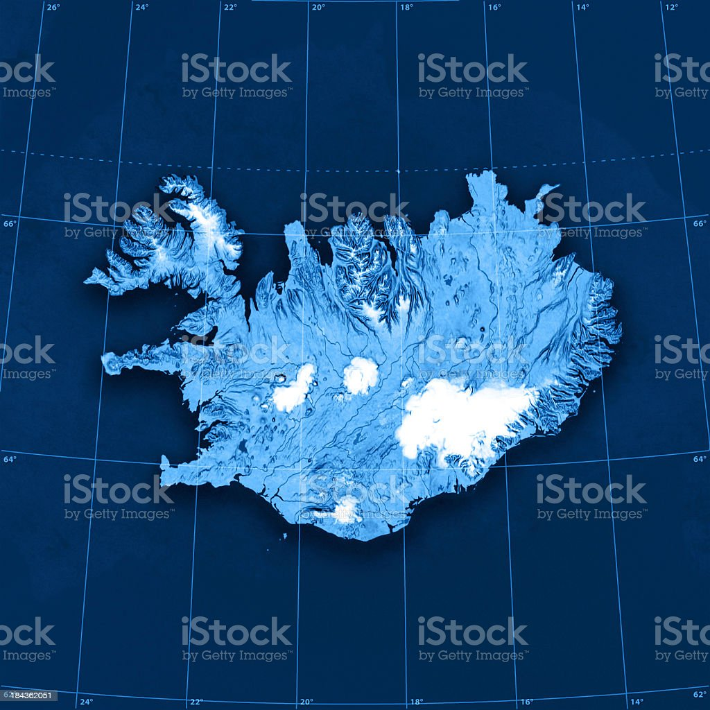 Iceland Topographic Map stock photo