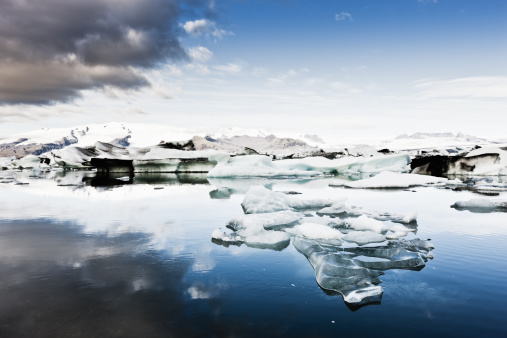 Iceland Vatnajokull Glacier Early Morning Stock Photo - Download Image Now