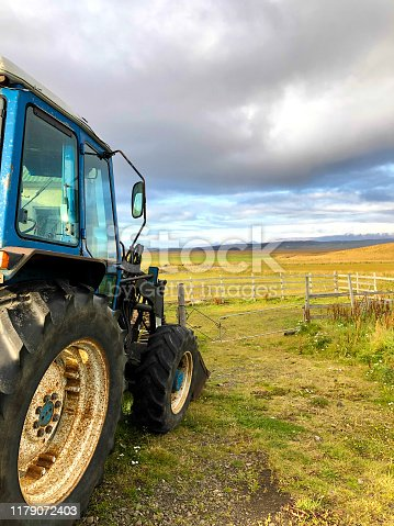 Iceland: Vintage Blue Tractor in Beautiful Landscape, Close-Up