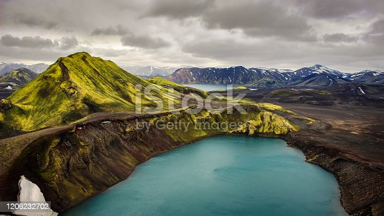 Iceland travel hotspot series volcanic landscape intense colors rhyolith mountains lake in volcano crater