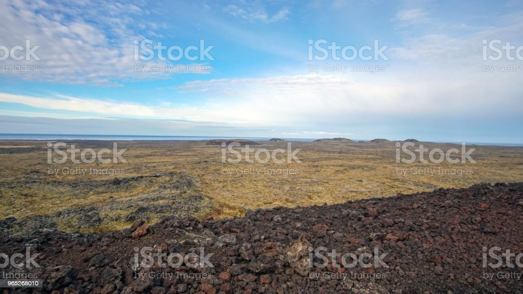 Iceland volcanice landscape field and volcano crater royalty-free stock photo