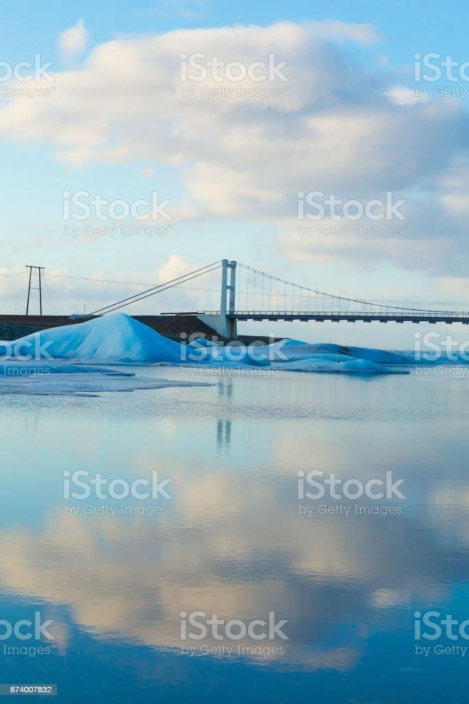 Iceland winter season reflection bridge stock photo