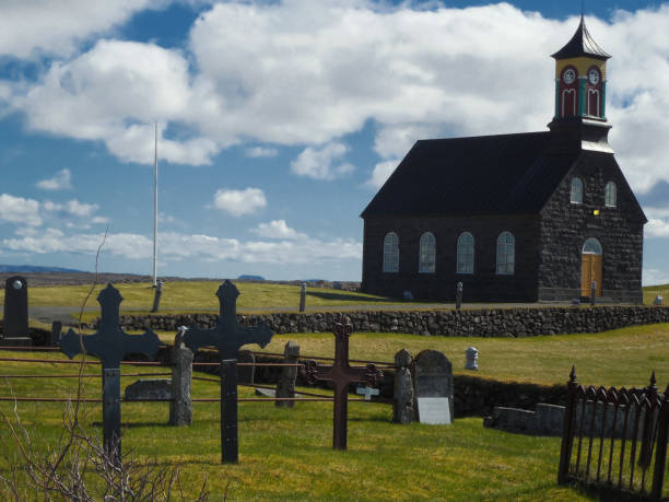 Icelandic Cemetery and Church stock photo