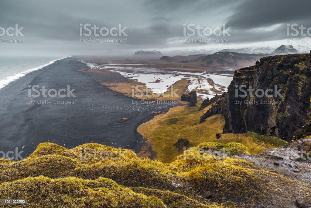 Icelandic empty coastal landscape, Vik stock photo