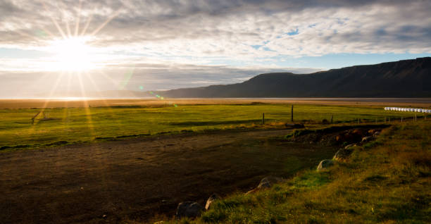 Icelandic Farm Sunset stock photo