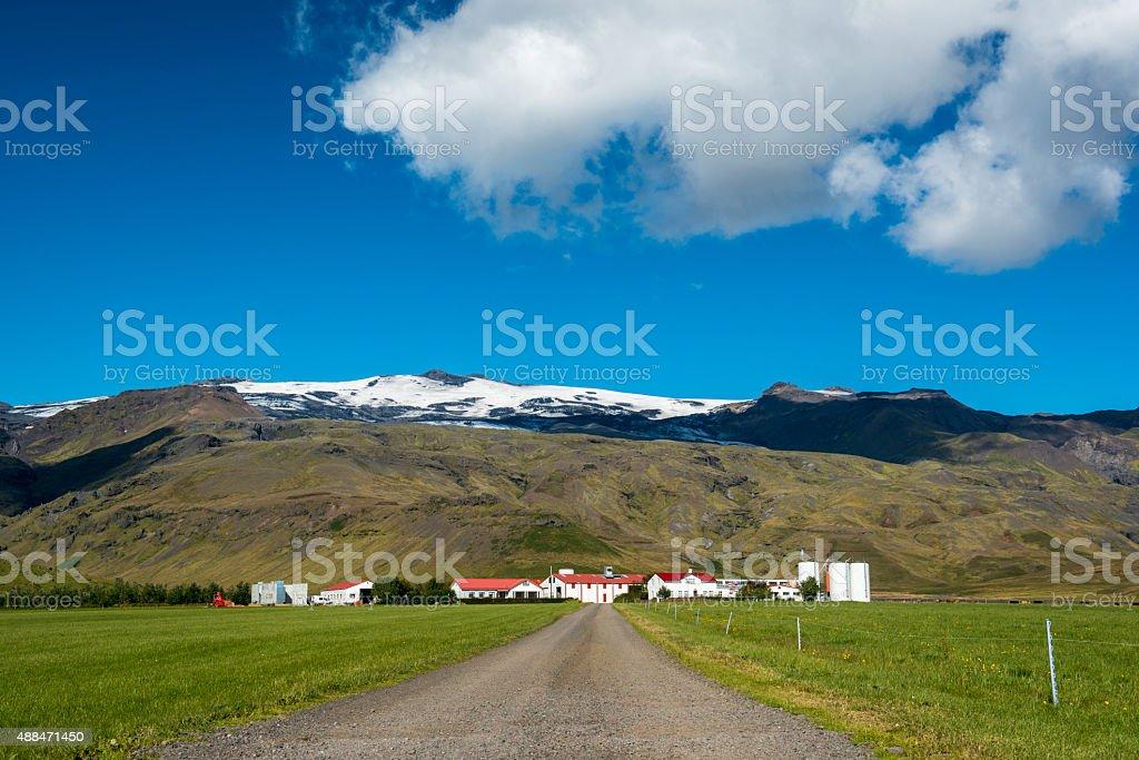 Icelandic farm under the Eyjafjallajokull volcano stock photo