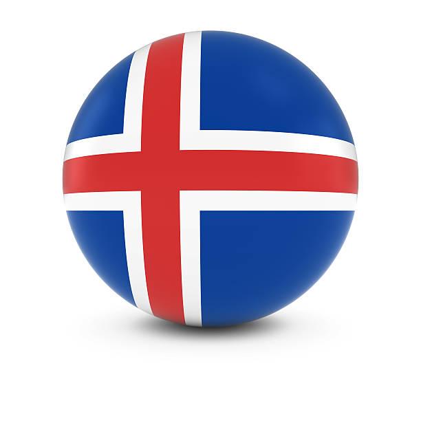 Bandeira Islandesa bola-bandeira da Islândia, na esfera de isolamento - foto de acervo