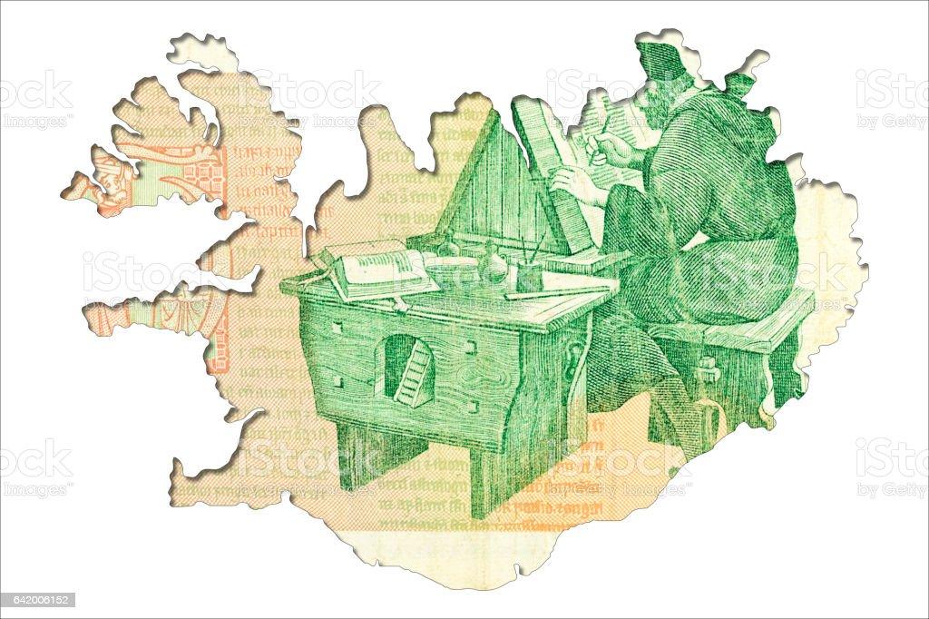 100 Icelandic Krona Note Reverse In Shape Of Iceland Stock Photo
