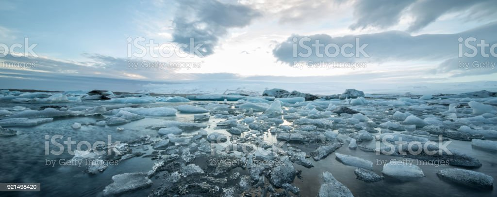 Icelandic landscape of icy sea surface stock photo