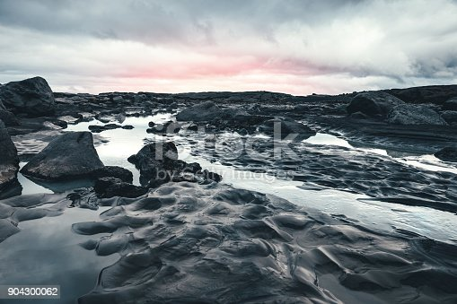 Volcanic dark landscape in Iceland.