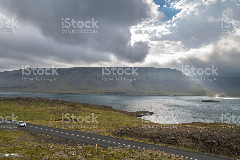 Icelandic landscape with fjord. stock photo