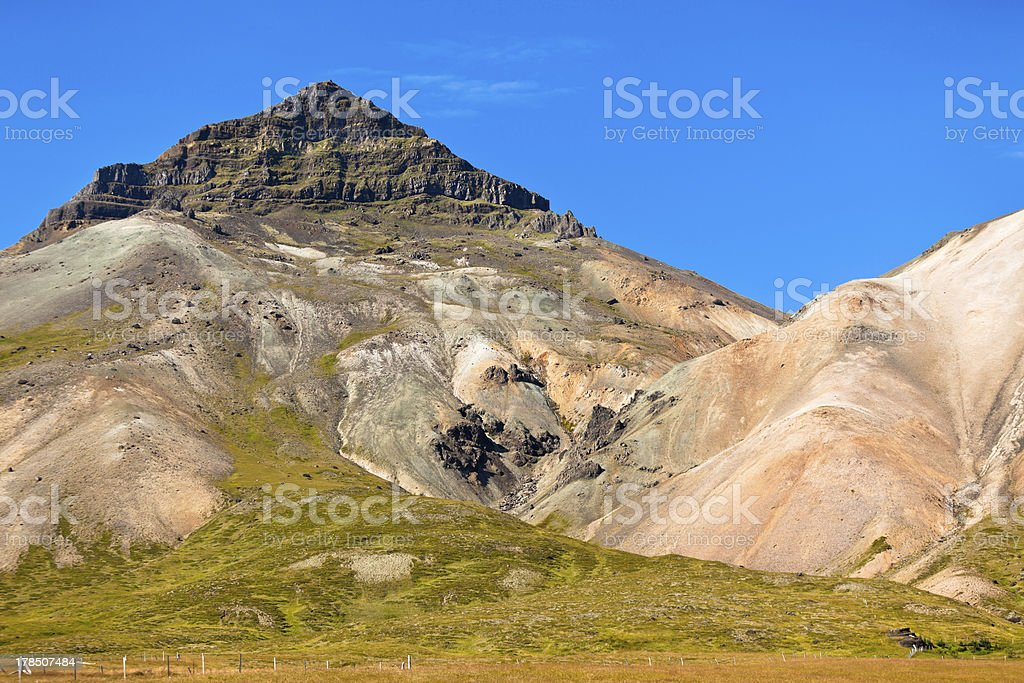 Icelandic mountain landscape under a blue summer sky royalty-free stock photo