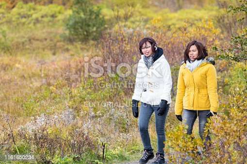 istock Icelandic national park at continental divide with two Chinese women walking on trail 1161650234