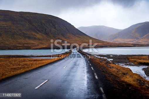 Scenic Icelandic road in Snaefellsnes peninsula of Iceland
