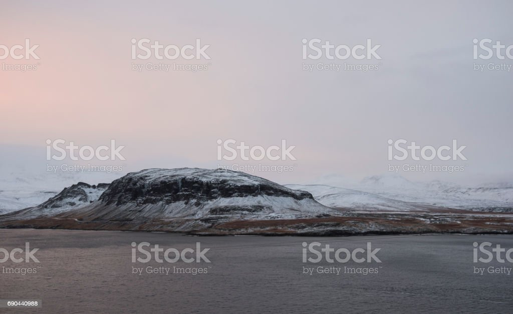 Icelandic winter view on volcanoes and mountains in Snaefellsnes peninsula stock photo