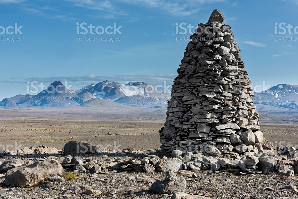 Iceland's highlands, monument stock photo