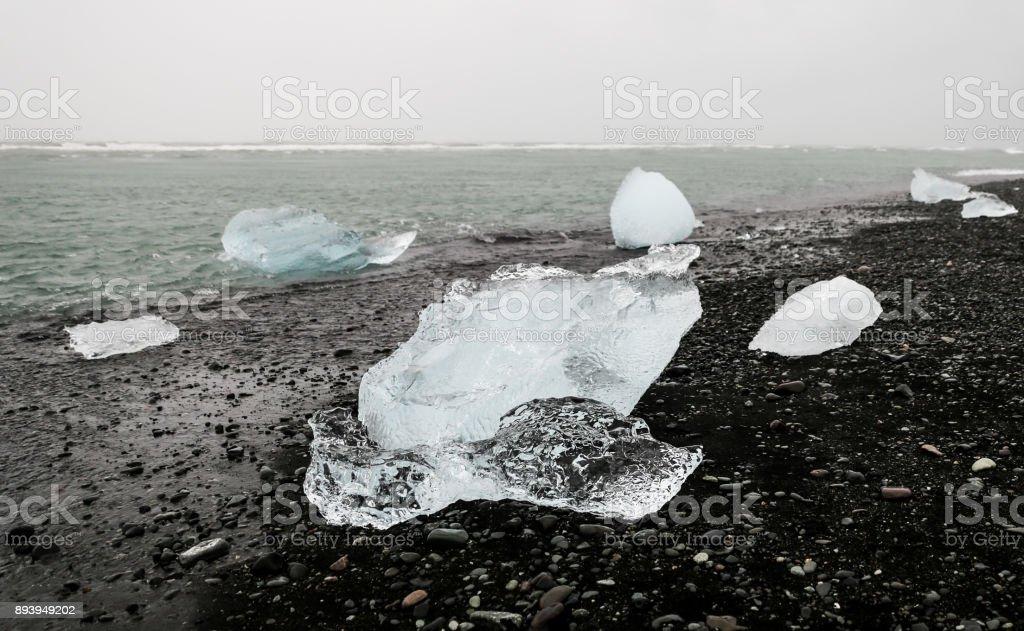 Ices in Jokulsarlon Beach, Iceland stock photo