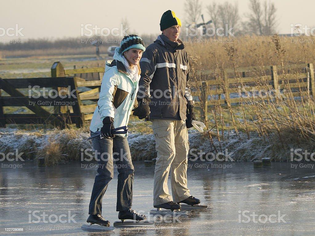 ice-skating couple royalty-free stock photo