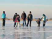 family ice-skating in the Netherlands
