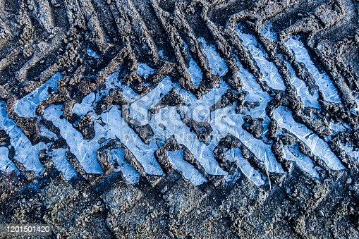 Tractor wheel pattern on ice