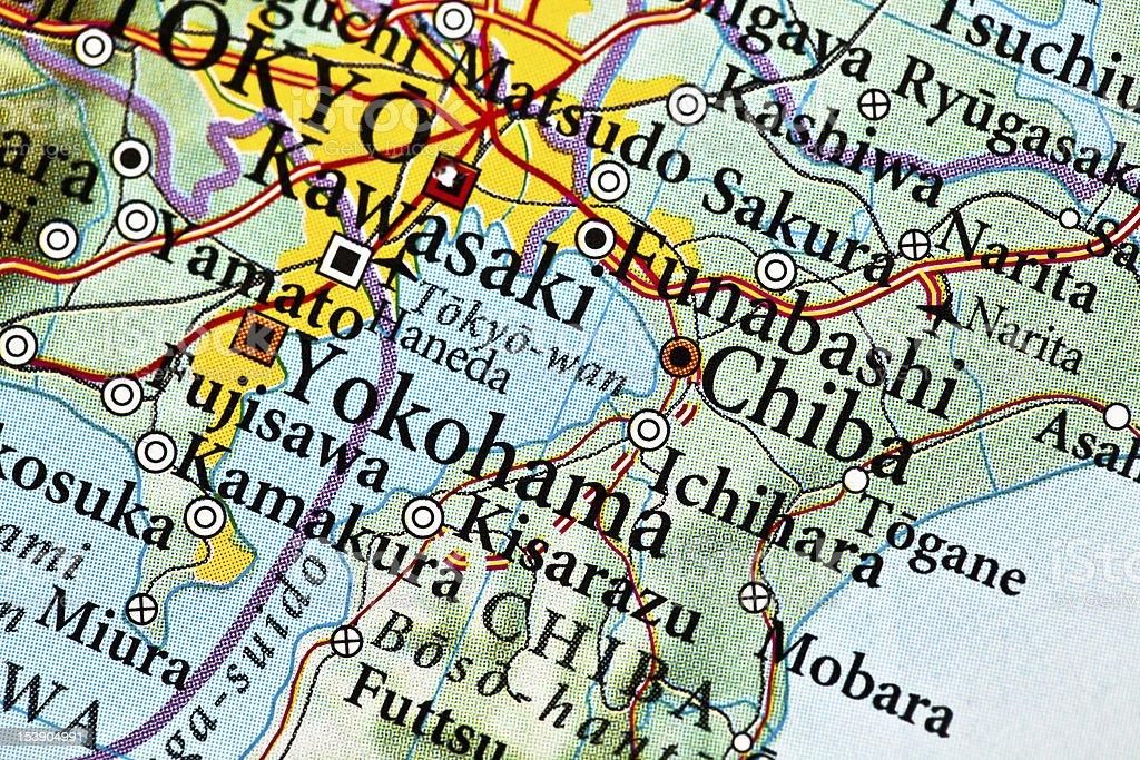 Ichihara map, Japan stock photo