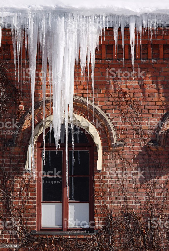 Icicle on roof royalty-free stock photo