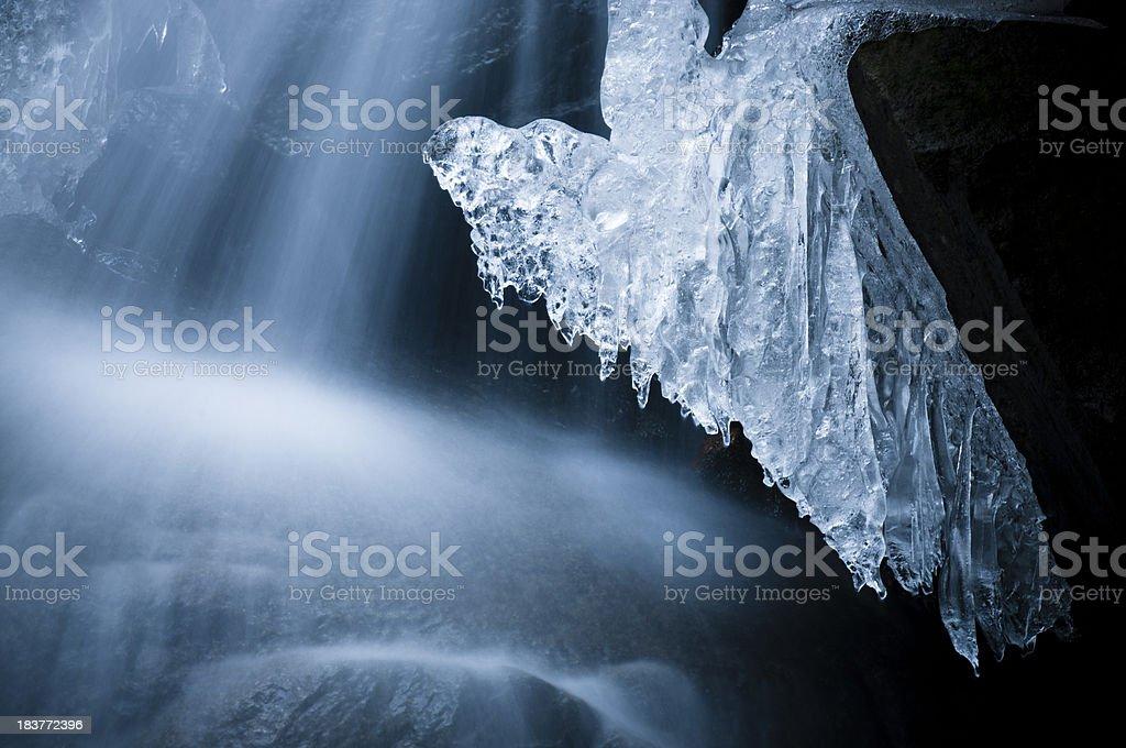Icicles and cascade stock photo