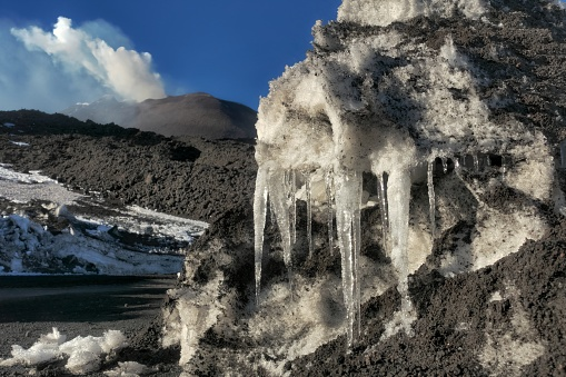 istock icicles and New South-east Summit Crater in Etna Park, Sicily 1212312957