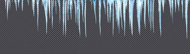 ijspegels opknoping downisolated met precieze knippen pad - clipping path stockfoto's en -beelden