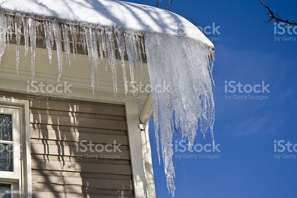 Icicles Hanging from a Roof In Winter stock photo