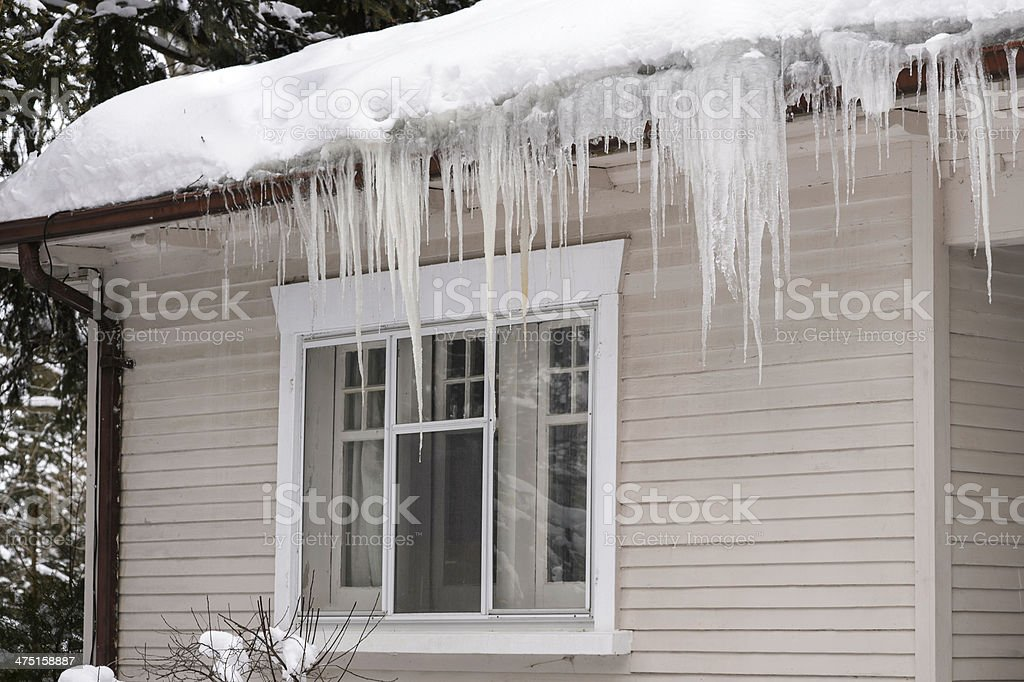 Icicles Hanging from House Eavestrough stock photo